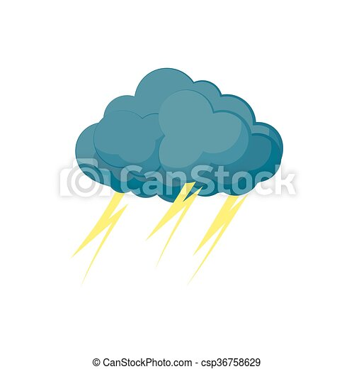 Cloud with lightnings icon, cartoon style - csp36758629