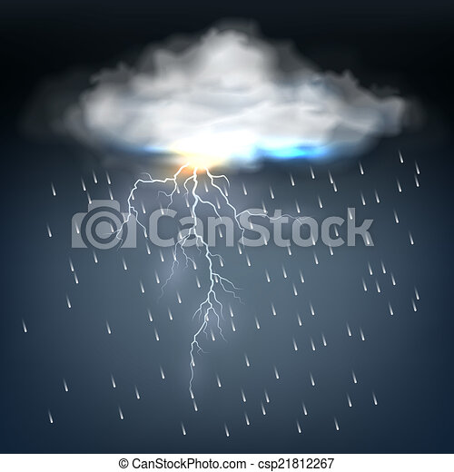 Cloud with rain and a lightning bolt - csp21812267