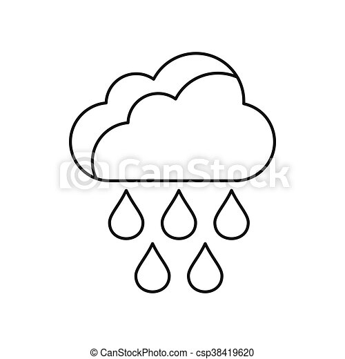 Cloud with rain drops icon, outline style