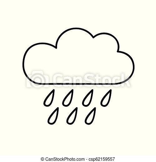 cloud with rain weather icon outline