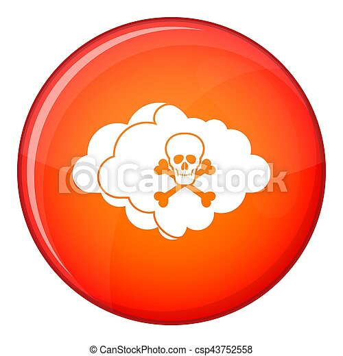Cloud with skull and bones icon, flat style - csp43752558