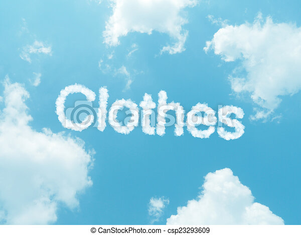 cloud words with design on blue sky background - csp23293609
