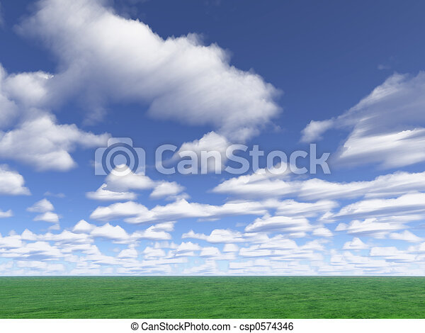 clouds and meadow - csp0574346