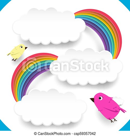 Clouds and rainbow with cute birds - csp59357042