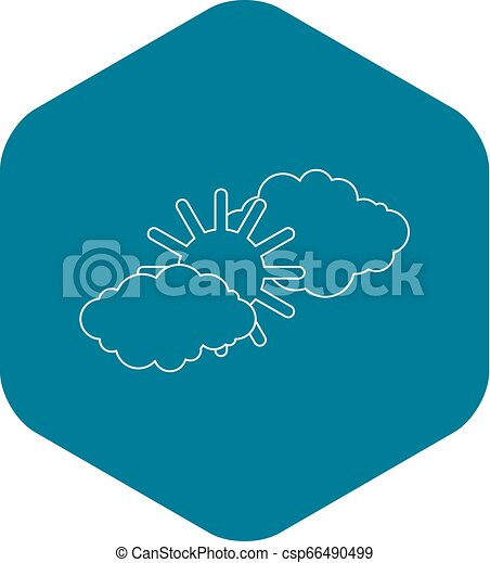 Clouds and sun icon, outline style - csp66490499