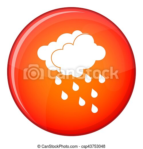 Clouds and water drops icon, flat style - csp43753048