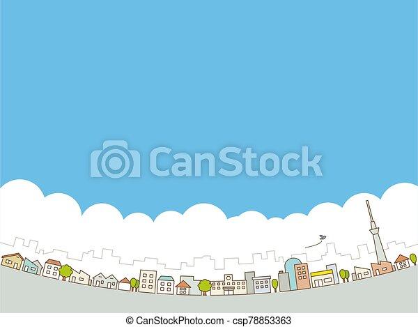 clouds., cityscape., vector, ciudad, skyline., grande, streets., azul, edificios, ilustración, cielo - csp78853363