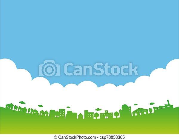 clouds., cityscape., vector, ciudad, skyline., grande, streets., azul, edificios, ilustración, cielo - csp78853365