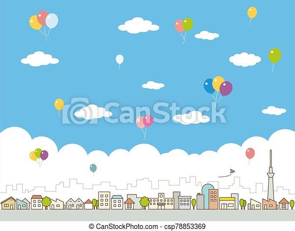 clouds., cityscape., vector, ciudad, skyline., grande, streets., azul, edificios, ilustración, cielo - csp78853369