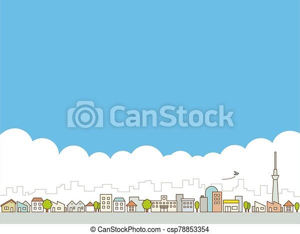 clouds., cityscape., vector, ciudad, skyline., grande, streets., azul, edificios, ilustración, cielo - csp78853354