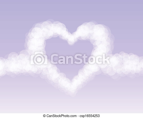 Clouds heart on pink romantic sky background - csp16554253