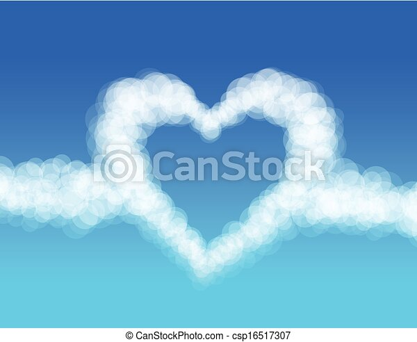 Clouds heart on sky background. Vector - csp16517307