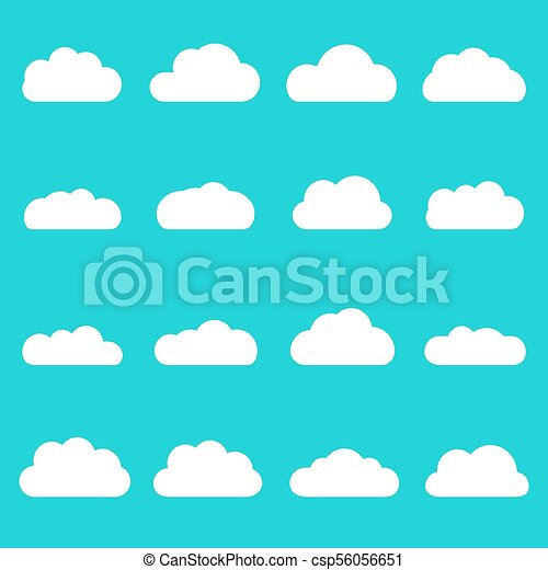 Clouds icon set  Different cloud shapes isolated on the blue sky  background  Vector flat style cartoon cloud illustration