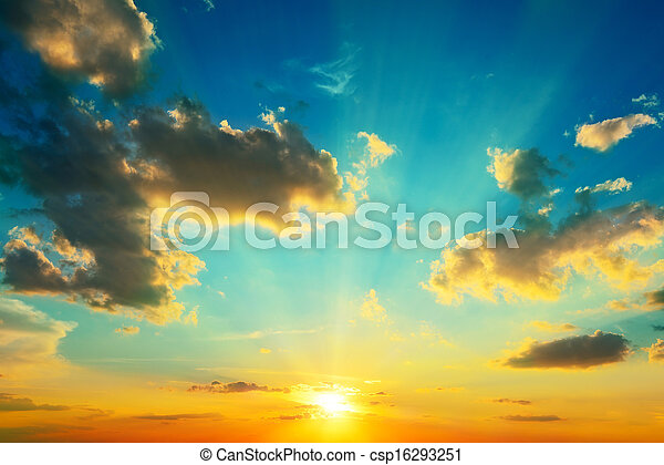 Clouds illuminated by sunlight. Sunset. - csp16293251