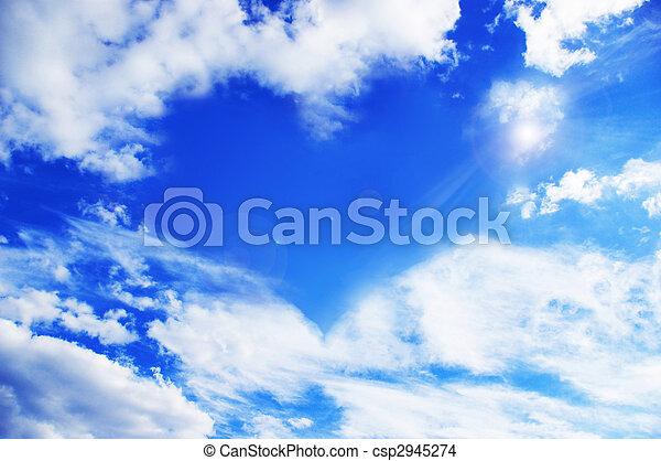 Clouds making a heart shape againt a sky - csp2945274