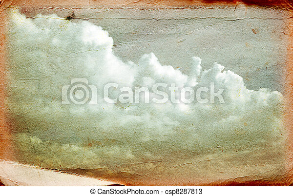 Clouds on old grunge paper - csp8287813
