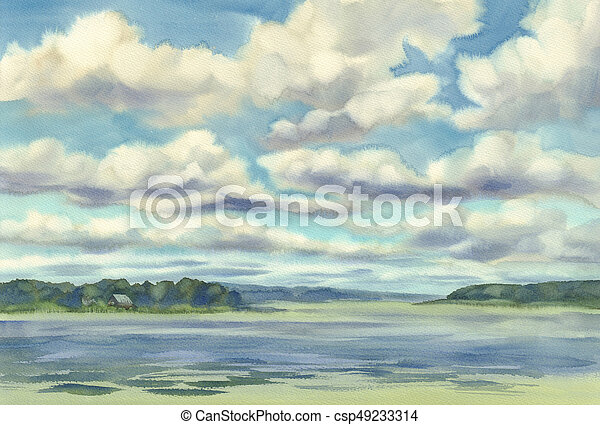 clouds over the lake watercolor - csp49233314