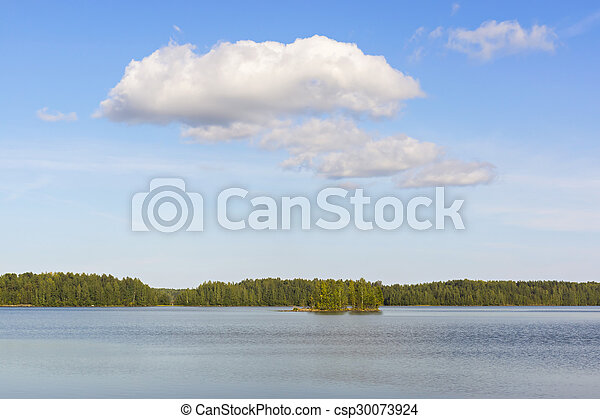 Clouds over wild lake - csp30073924