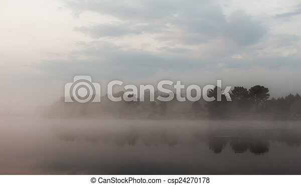 Clouds reflecting in the lake, Ukraine. - csp24270178