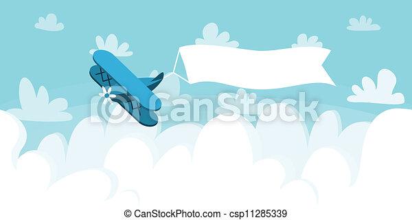 cloudscape , μικροβιοφορέας , εικόνα , placard., φόντο. , αεροπλάνο  - csp11285339