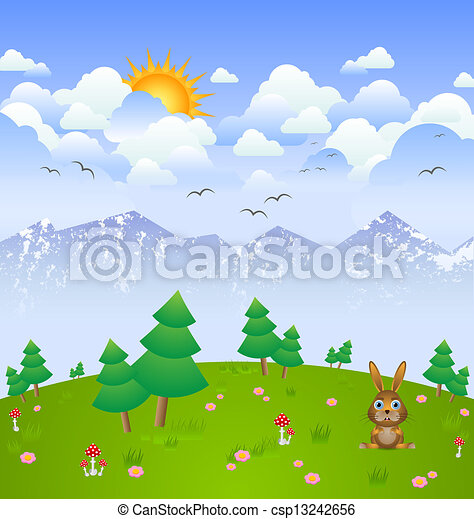 Idylic cloudy day landscape with bunny clipart vector ...