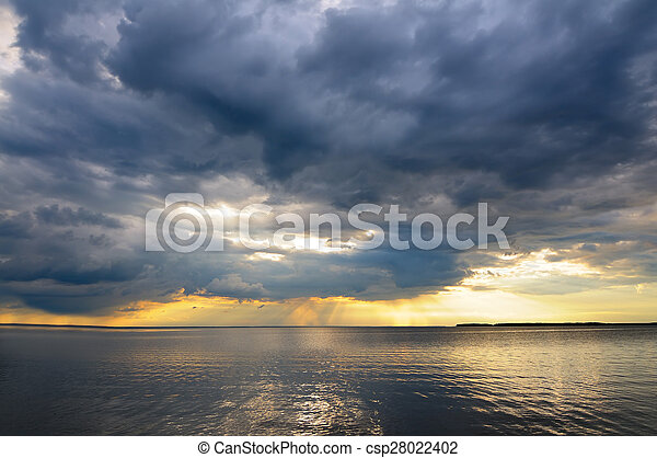 Cloudy sky and water - csp28022402