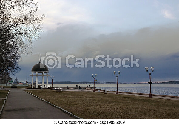 Cloudy sky on landscape of lake - csp19835869