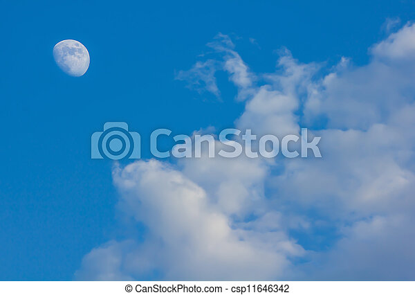 cloudy sky with moon in the evening - csp11646342