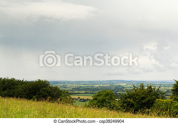 Cloudy view over the Chilterns in Buckinghamshire - csp38249904