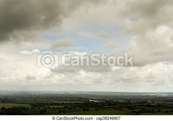 Cloudy view over the Chilterns in Buckinghamshire - csp38249907