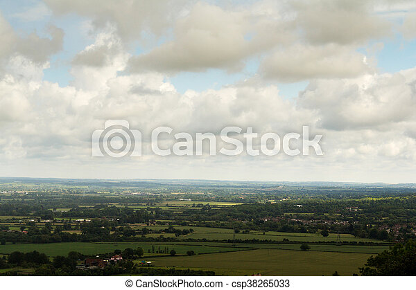Cloudy view over the Chilterns in Buckinghamshire - csp38265033