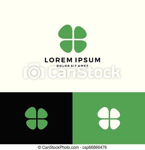 clover leaf four logo vector download - csp66866476