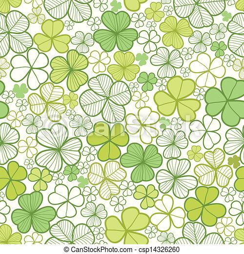 Clover line art seamless pattern background - csp14326260
