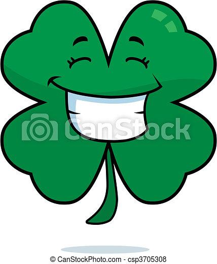 clover smiling a cartoon four leaf clover happy and smiling rh canstockphoto com Four Leaf Clover Designs four leaf clover cartoon images