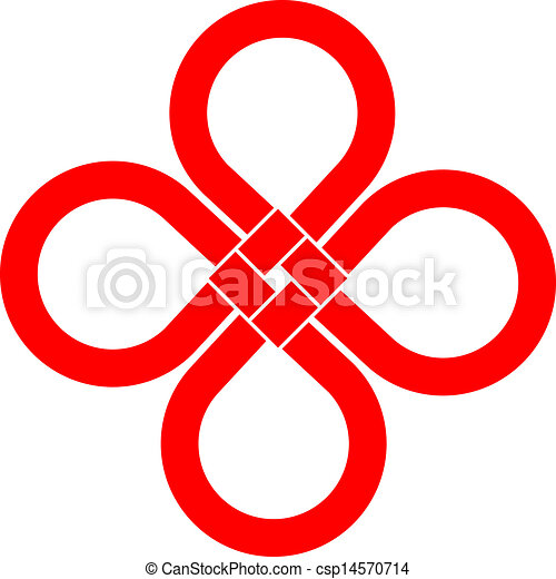Cloverleaf Knot Good Luck Symbol Cloverleaf Knot Isolated On White