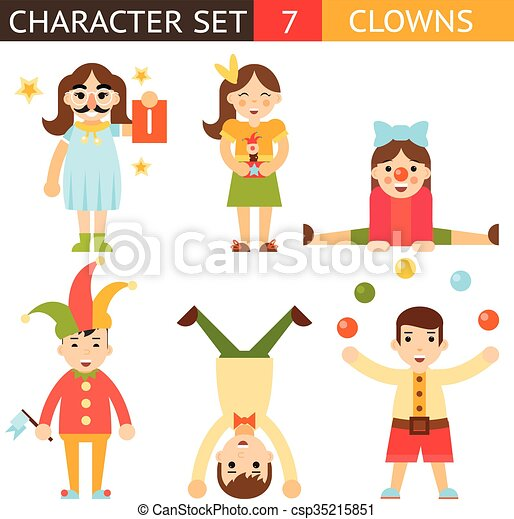 Clown 1 April Joke Fun Boys Girls Characters Icon Set Symbol  Accessories Stylish Isolated Flat Design Concept Template Vector Illustration - csp35215851