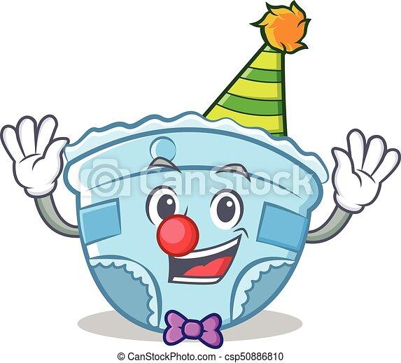 Clown baby diaper character cartoon - csp50886810