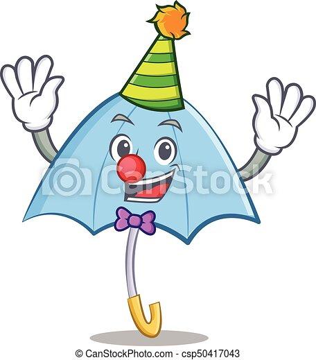 Clown blue umbrella character cartoon - csp50417043