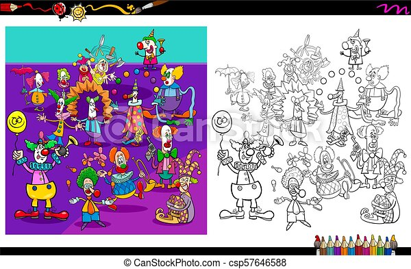 clown characters group coloring book cartoon illustration of clowns