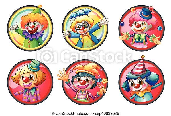 clown characters on round badges illustration