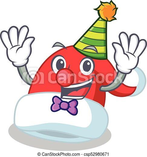 Clown Christmas hat character cartoon - csp52980671