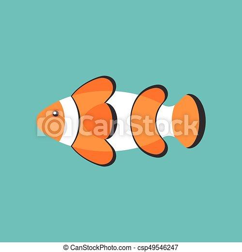 Clown Fish Cartoon Flat Design Vector Icon