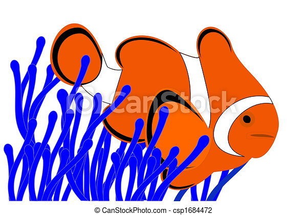a clown fish in a blue anemone clip art search illustration rh canstockphoto com clownfish clipart cute clownfish clipart
