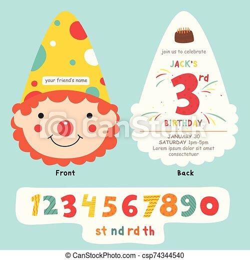 Clown Head Birthday Party Card Vector Design