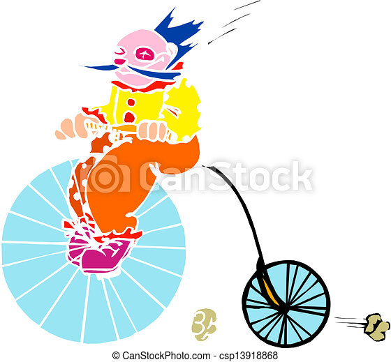 Clown on old bicycle - csp13918868