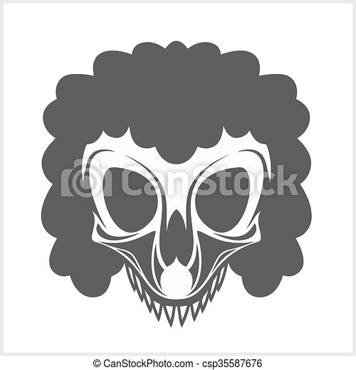 clown skull isolated on white background - csp35587676