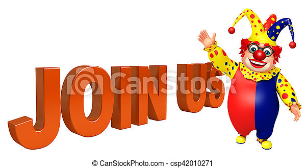 Clown with Join us sign - csp42010271
