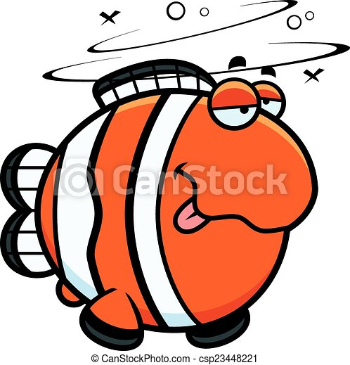 clownfish, cartone animato, ubriaco - csp23448221