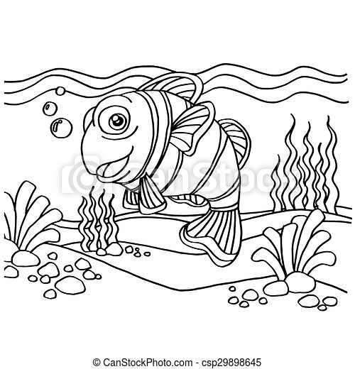 clownfish coloring pages vector - csp29898645