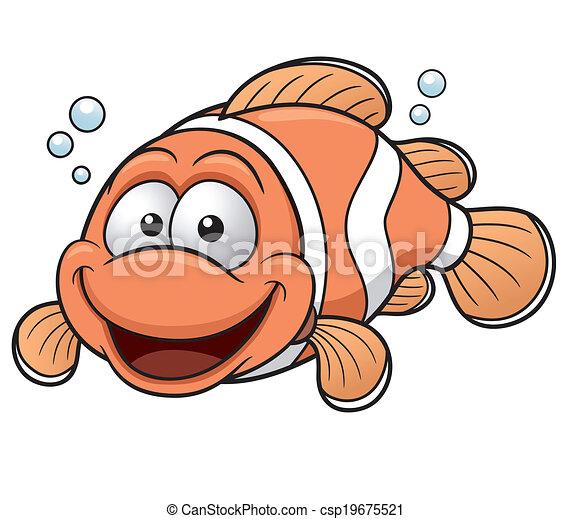 Vector Illustration Of Happy Clownfish Cartoon